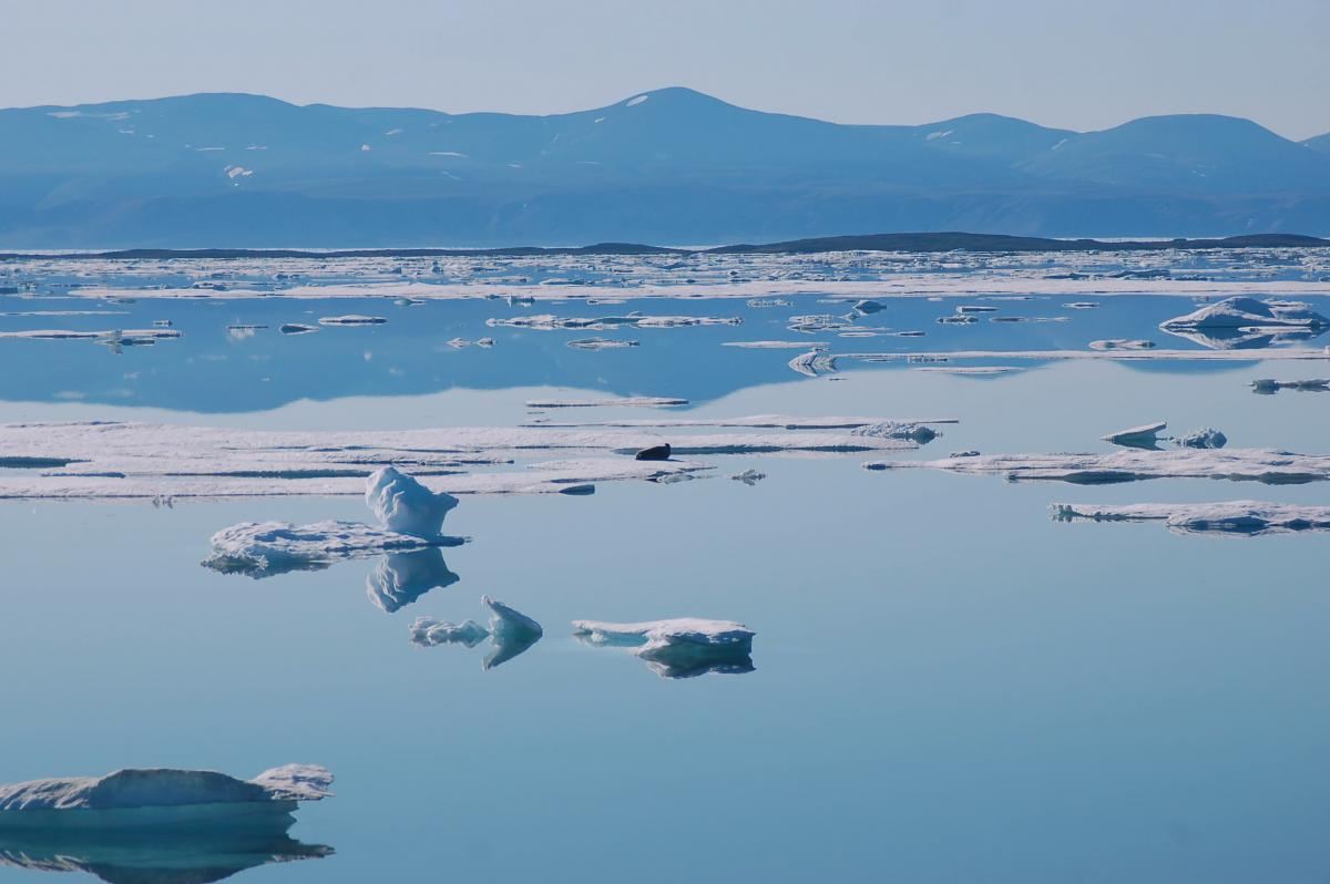 Mountains, sea ice in Nunavut's Sirmilik National Park