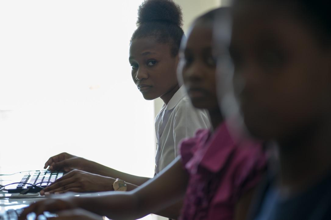 Women study at L'École Supérieure d'Infotronique d'Haiti. The school is one of the partners of the AYITIC program, which is helping train Haitian women to take part in the digital economy.