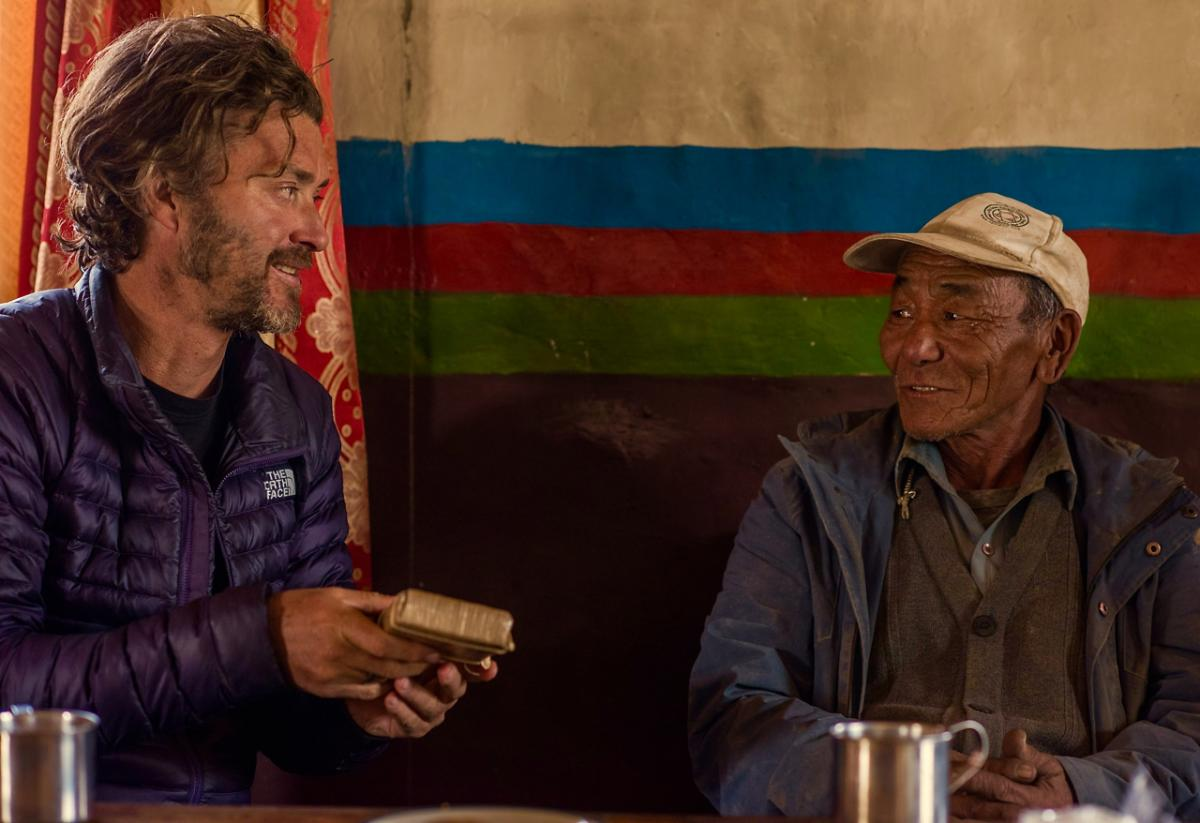 "Jeff Fuchs, the ""Tea Explorer,"" with Konga, a tea trader from Lo Manthang"
