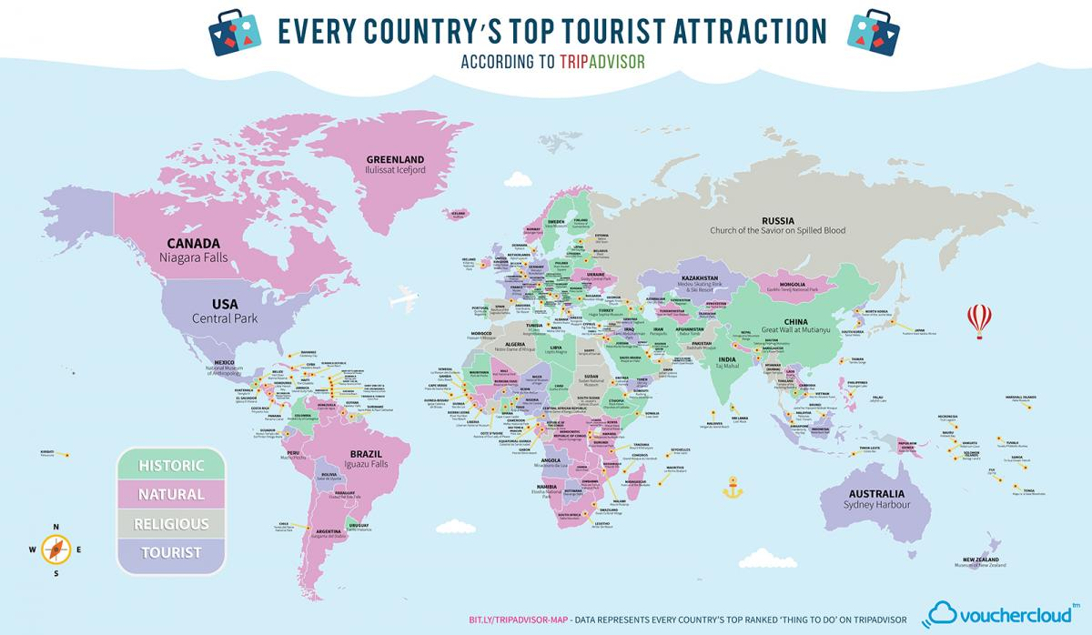 Vouchercloud's map of the top tourist attraction in every country. Explore a larger version of the map here.