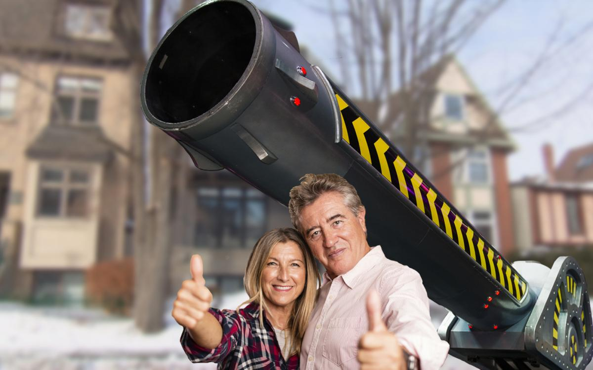Explorers Pamela and Peter Bracefait with their circus cannon