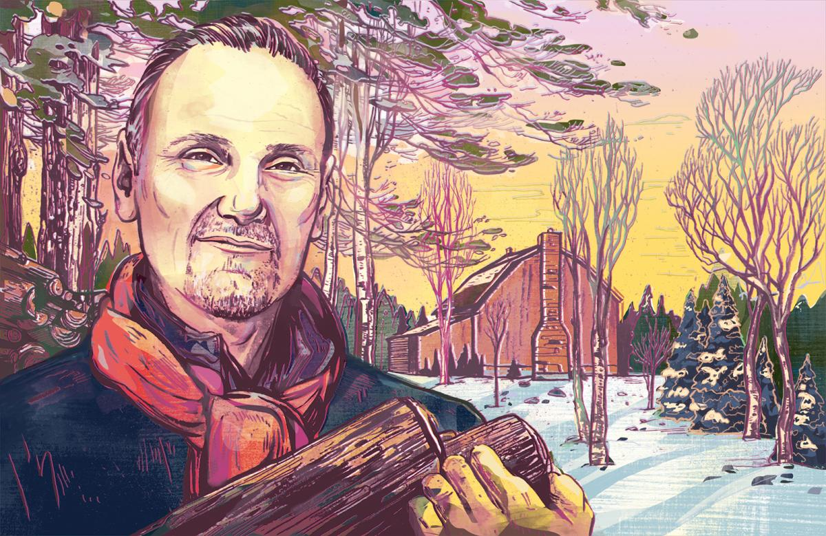 Illustration of Michael Bonacini carrying firewood at his country property in Caledon, Ont.