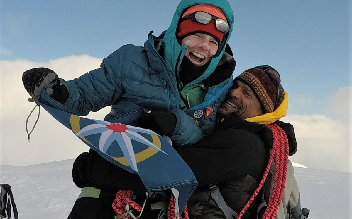 Pascale Marceau and Lonnie Dupre celebrate on the summit of Jeannette Peak in eastern B.C.