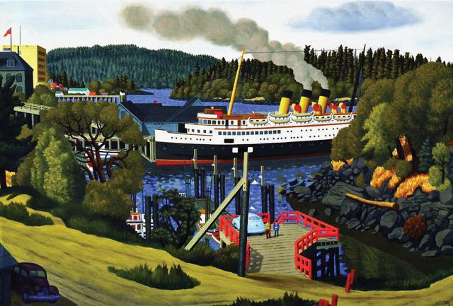Steamer at the Old Wharf, Nanaimo. 1958 by E.J. Hughes
