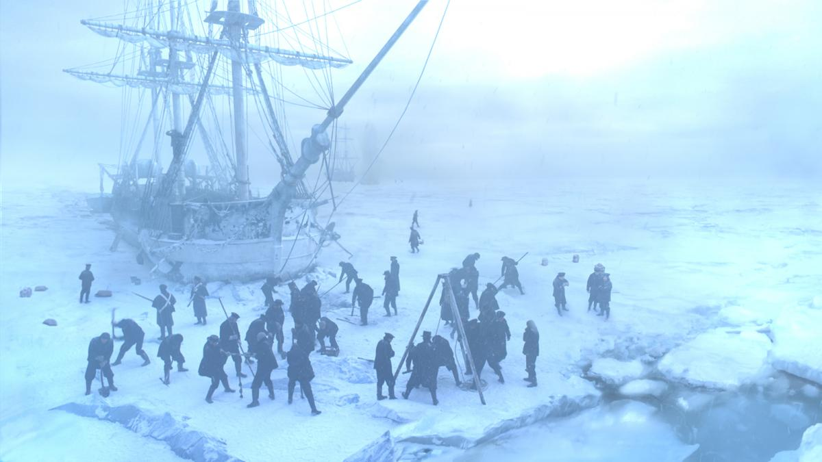 The crew of the The Terror at work on the ice in the series' first episode