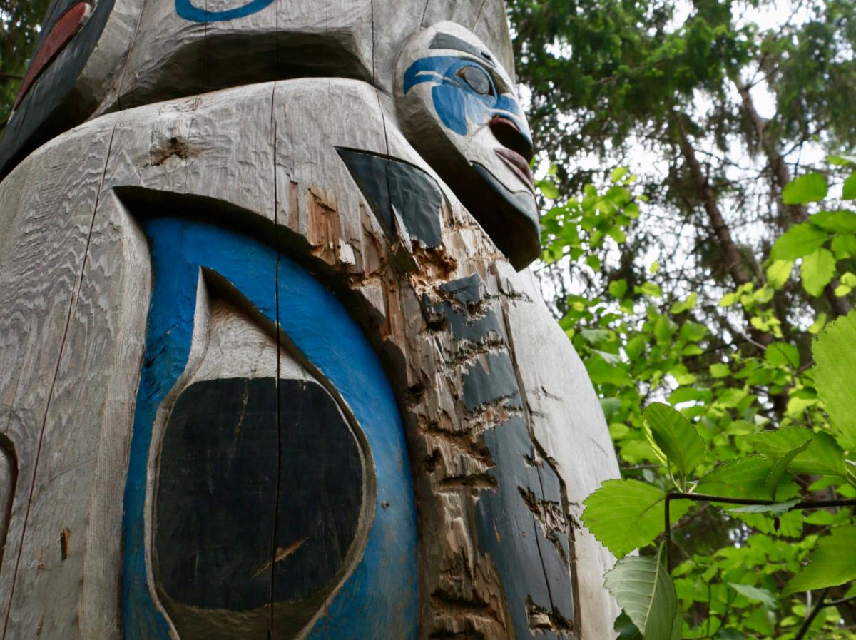A closeup of the Snuxyaltwa pole at the ancient village of Talyu, in B.C.'s Bella Coola Valley