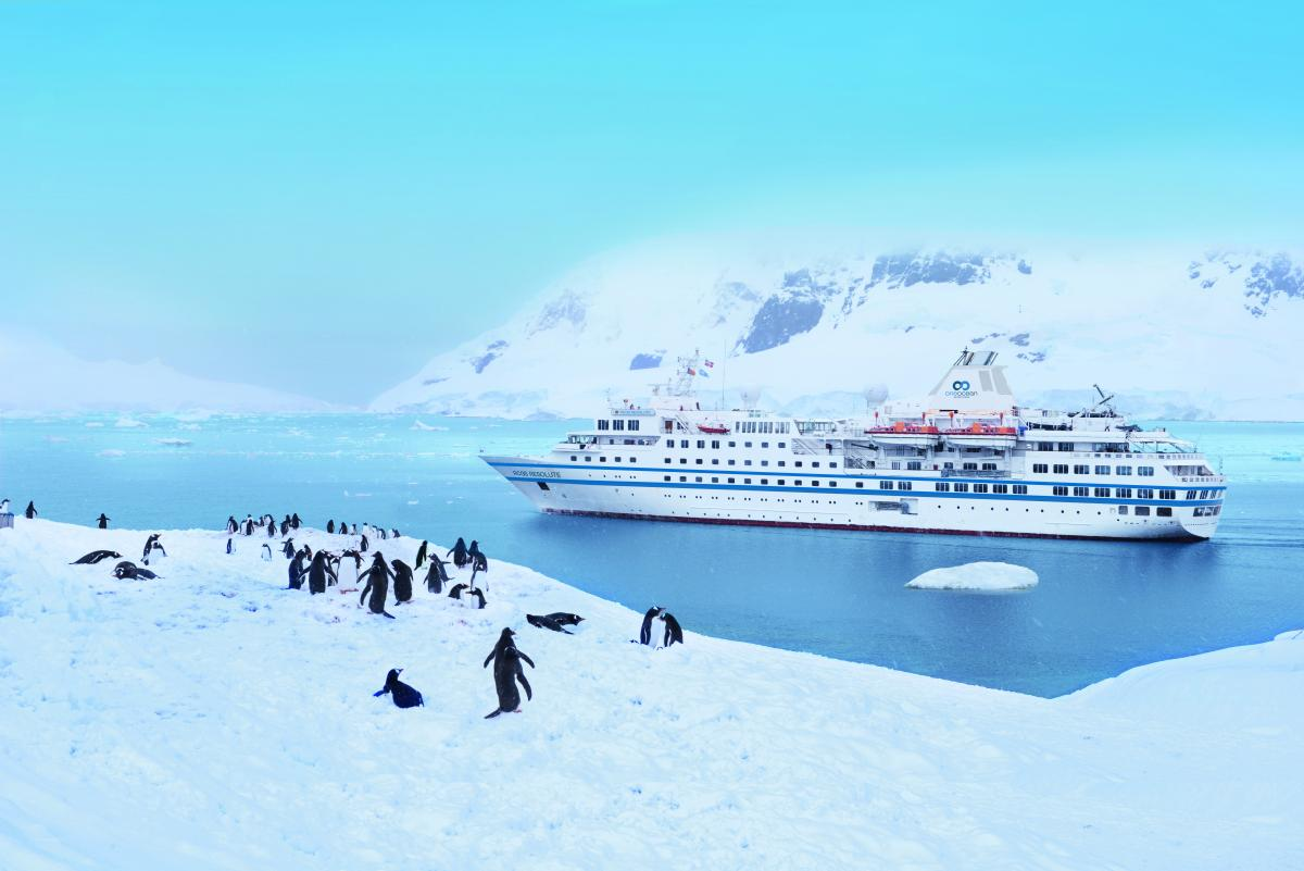 RCGS Resolute in Paradise Bay, Antarctica
