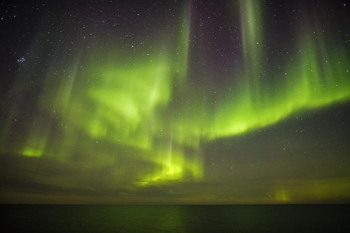 A display of northern lights over the northwest passage