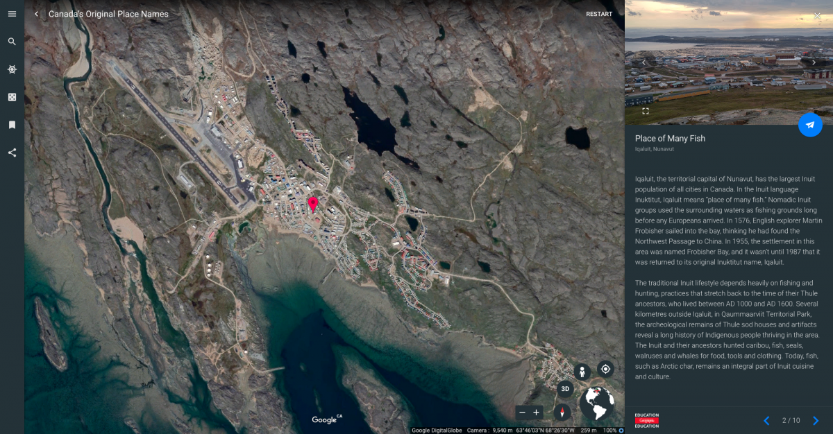 Google Earth Voyager story about Canada's original place names