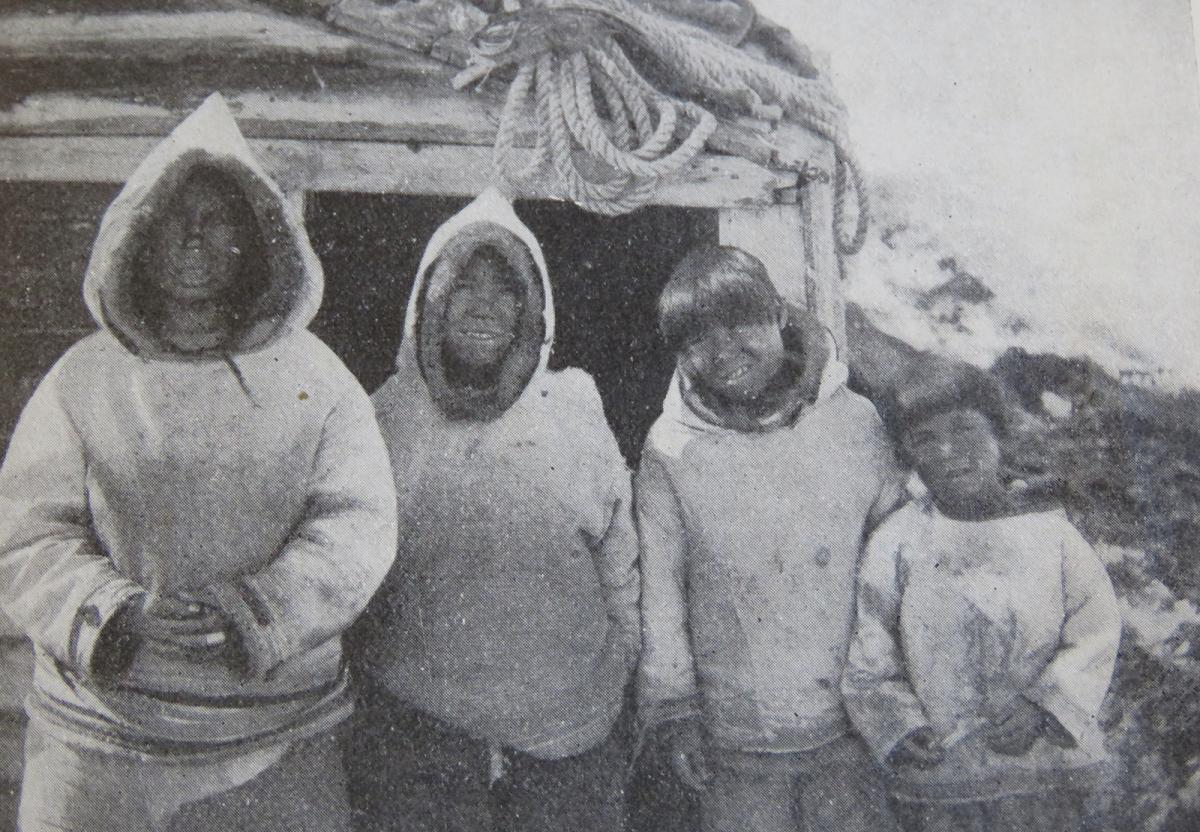 The Tuglavina family at Okak, 1915, right to left: Arnatuk, Renatus (Kuttaktok), Josef and Jonas