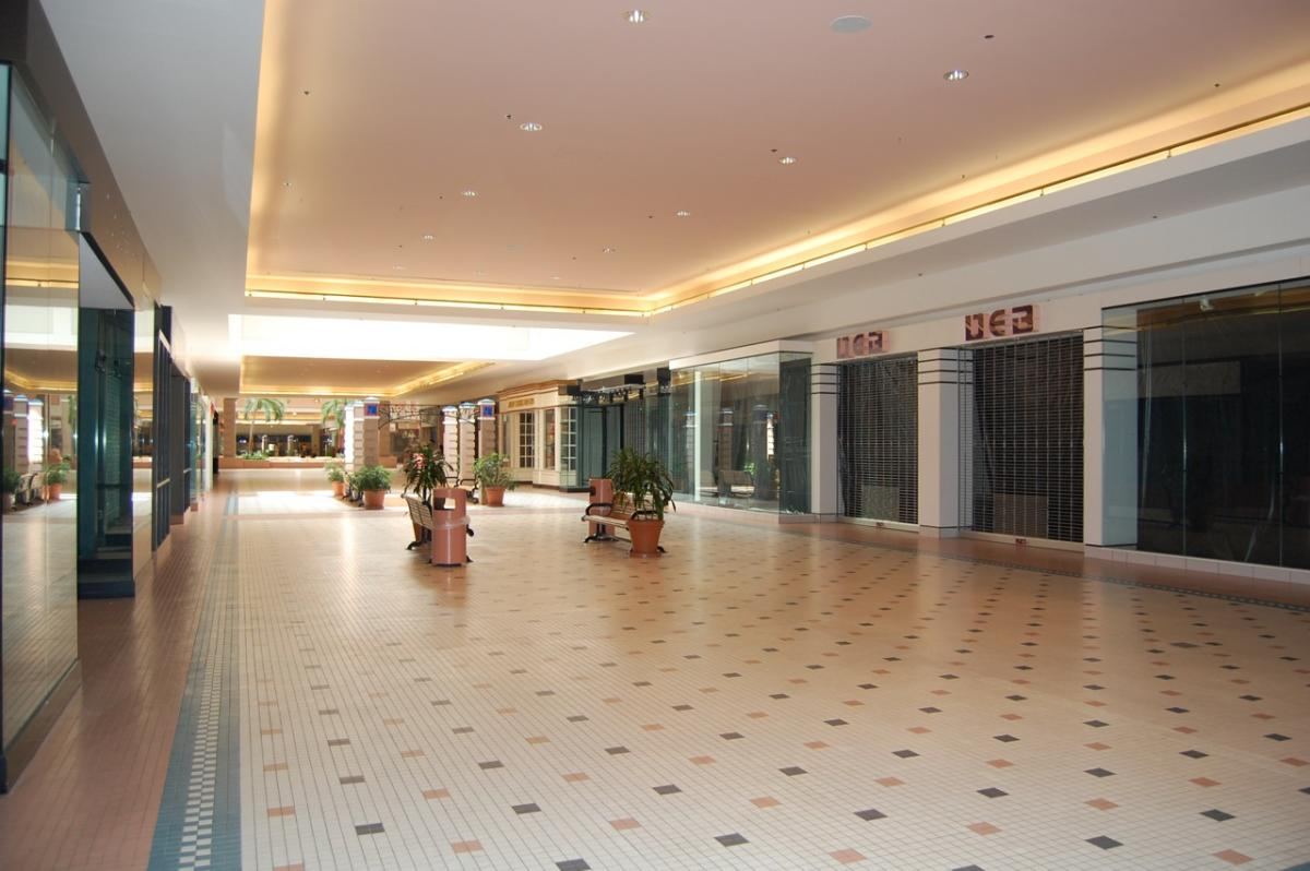 Empty indoor mall with closed stores