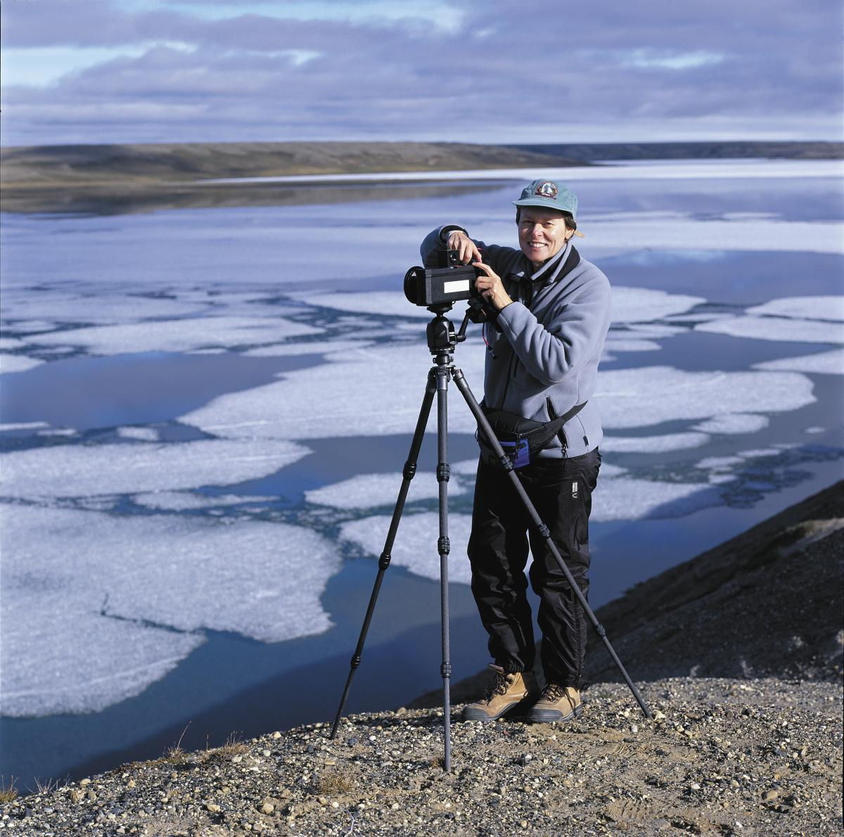 Roberta Bondar with camera on Banks Island
