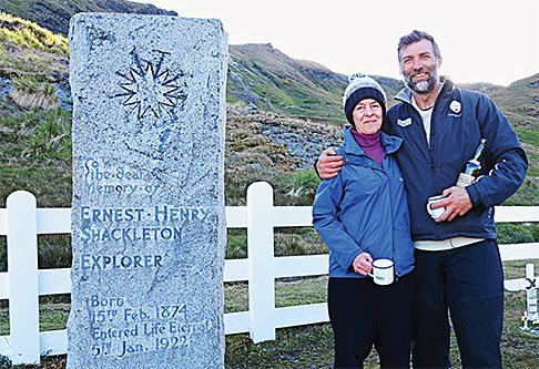 Alexandra Shackleton and Tim Jarvis at Ernest Shackleton's gravesite on South Georgia Island