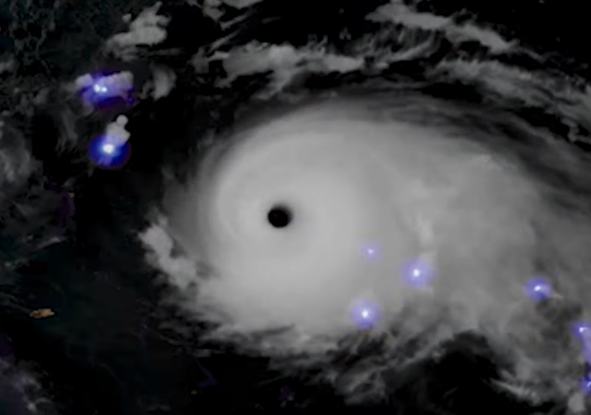 Lightning inside Hurricane Dorian as seen from space