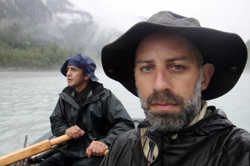 Author John Zada in the Great Bear Rainforest as he floats down the Bella Coola River with James Hans of the Nuxalk First Nation.