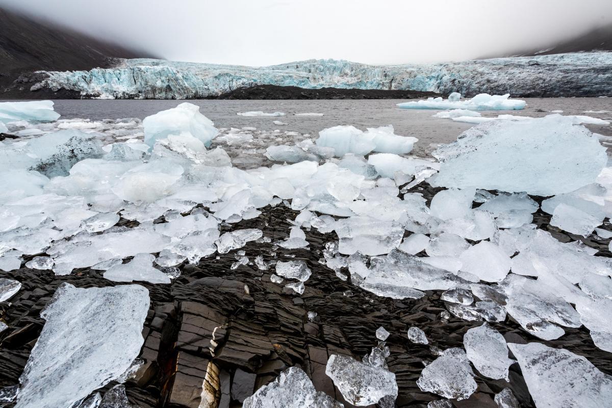 ice chunks near glacier