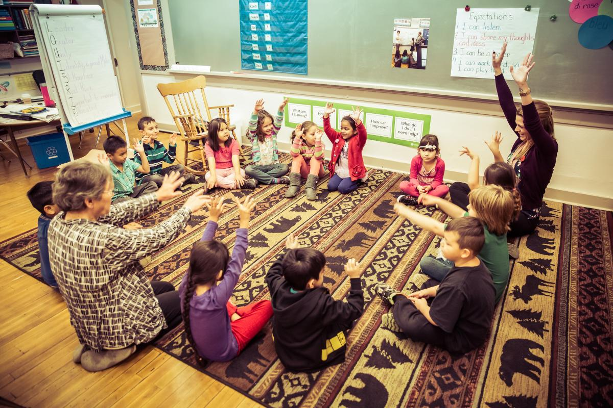 students sitting in a circle learn about Métis culture