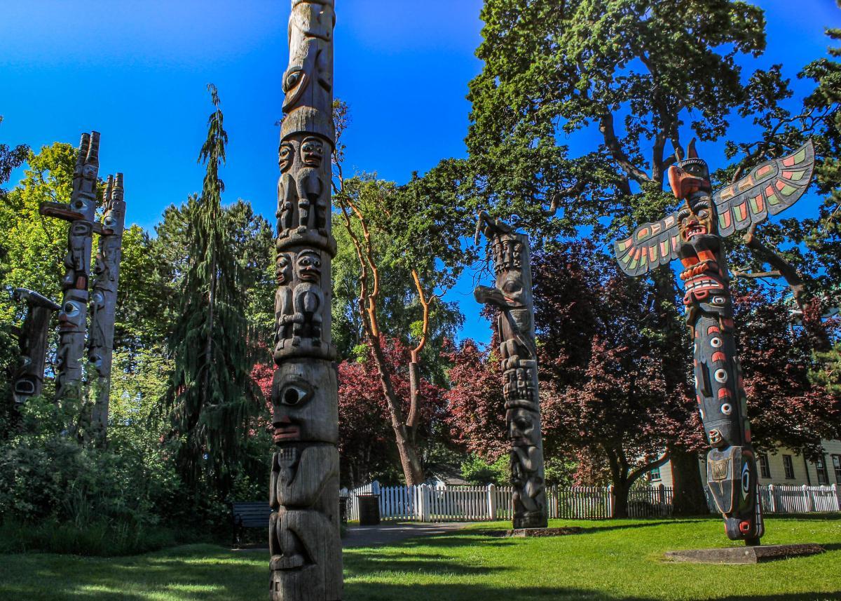 Totem poles in Thunderbird Park in Victoria, BC