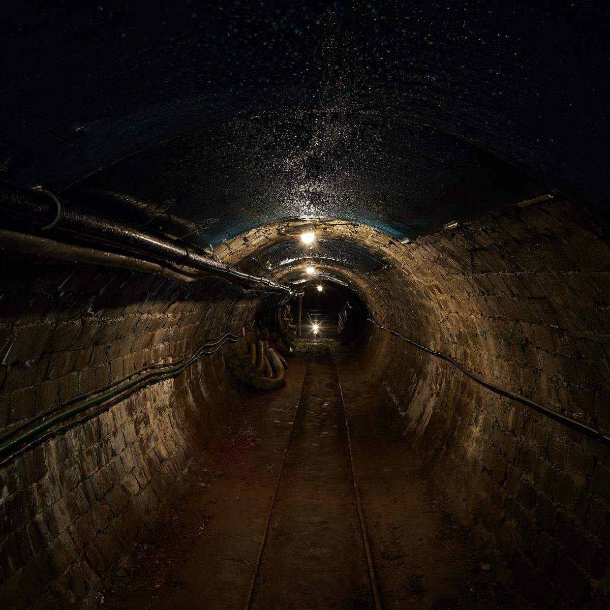 An underground, dark, tunnel