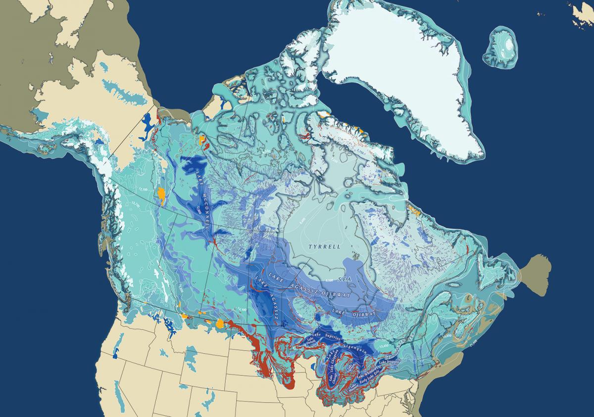 Map of North American glaciation