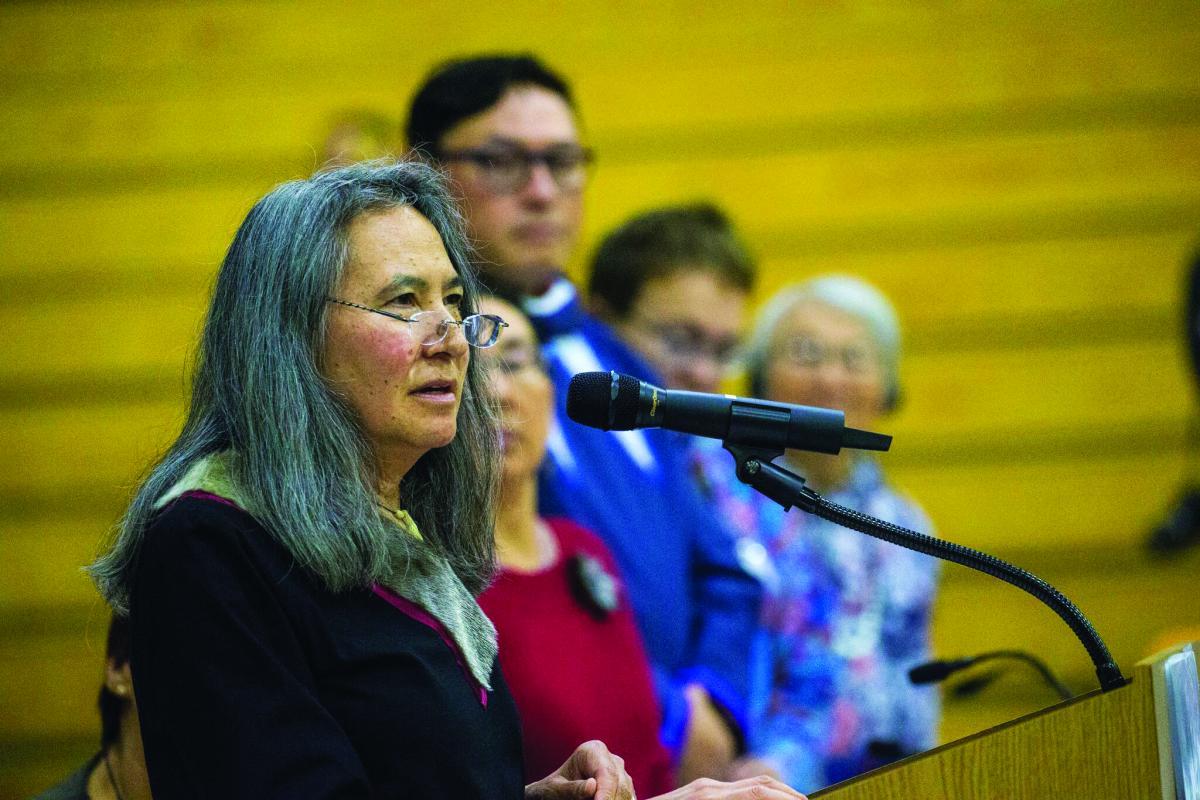 Dalee Sambo Dorough speaks at the Inuit Circumpolar Council's General Assembly