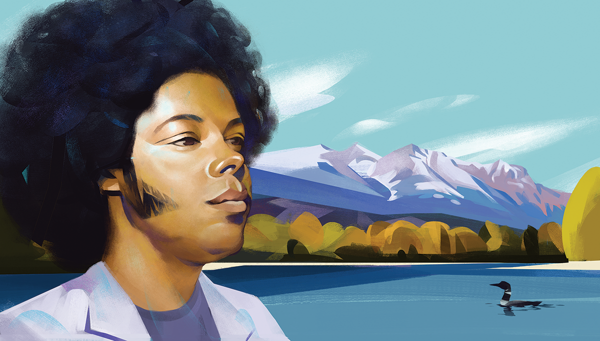 Illustration of Alex Cuba by Lake Kathlyn, Smithers, B.C.