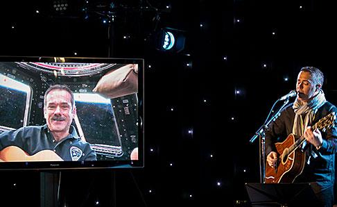 Chris Hadfield performs a song he co-wrote with Ed Robertson of the Barenaked Ladies