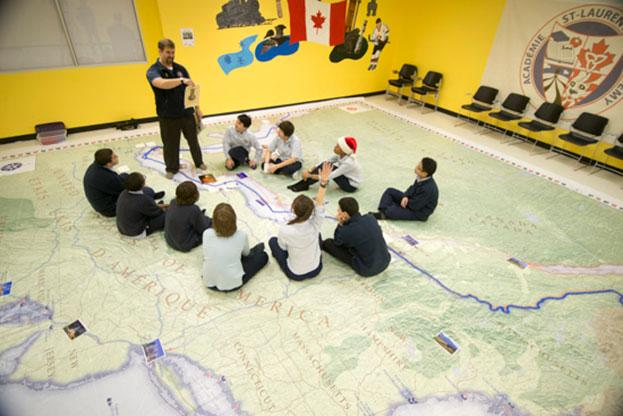 The War of 1812 giant floor encourages students to interact with history