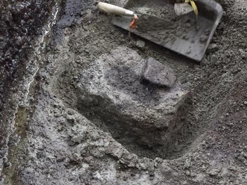 One of the footprints being prepared for transportation