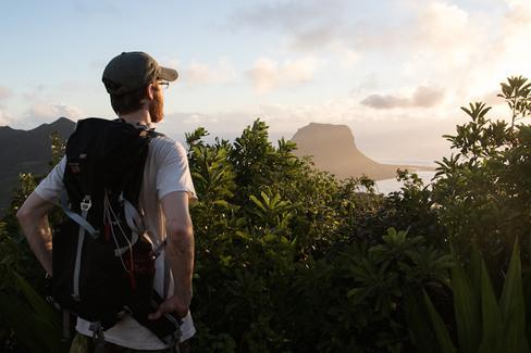 Patrick Moldowan overlooking Mauritius. (Photo: Gabby Salazar)