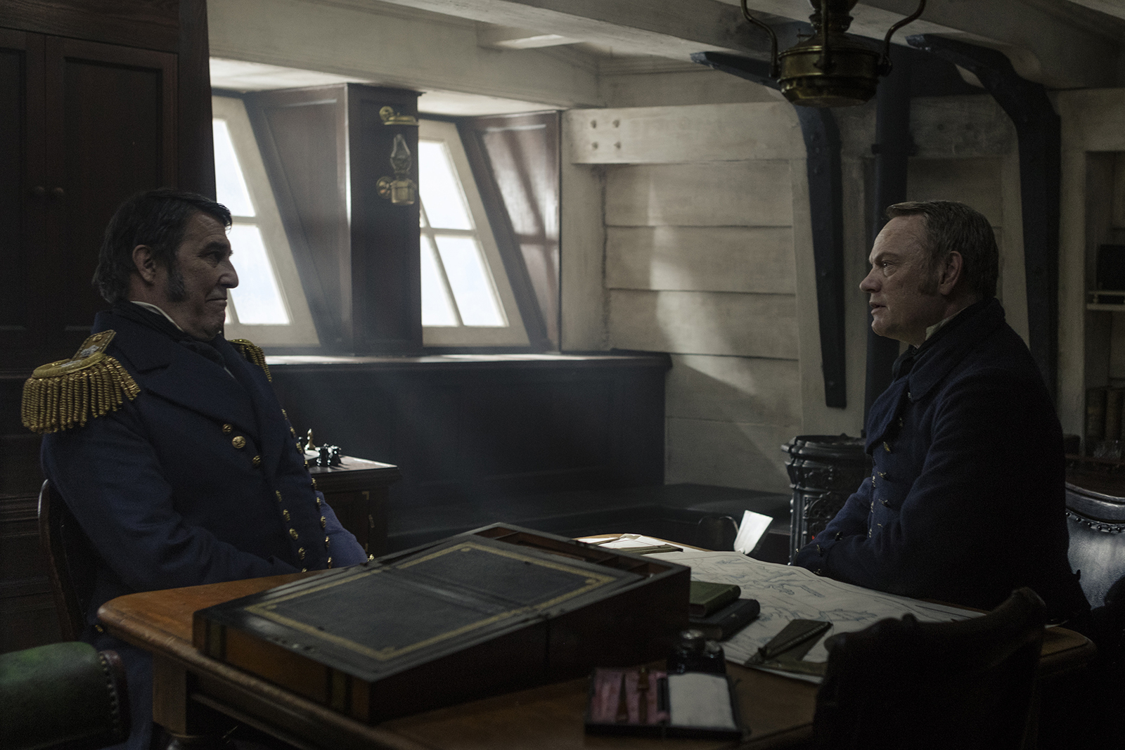 Ciarán Hinds as John Franklin, Jared Harris as Francis Crozier - The Terror _ Season 1, Episode 2 - Photo Credit: Aidan Monaghan/AMC