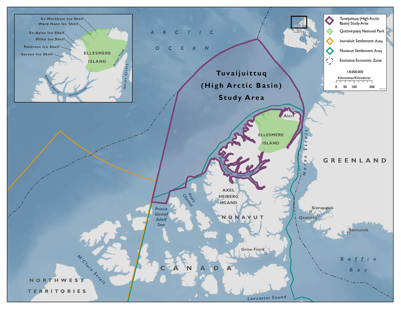 Map showing the Tuvaijuittuq study area